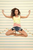 Woman Fit Slim Lady Posing As Meditating While Jump Mid Air. Healthy Lifestyle Keep You In Good Mood poster