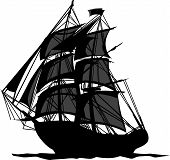 stock photo of revolutionary war  - Sailing Pirate Ship with Sails Graphic Vector Image - JPG