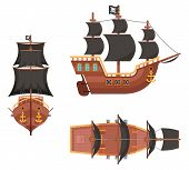 Wooden Pirate Buccaneer Filibuster Corsair Sea Dog Sailing Ship Game Icon Isolated On White Flat Des poster