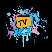 pic of televisor  - Abstract vector colorful TV illustration - JPG