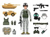 Army Soldier Character With Military Vehicle, Weapons, Military Gear And Equipment poster