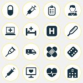 Drug Icons Set With Stings, Bed, Crutch And Other Ache Elements. Isolated Vector Illustration Drug I poster