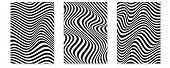Set Of Layouts With Wavy Lines. Twisted Duotone Backgrounds. Abstract Pattern From Lines, Halftone E poster