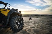 Summer Offroad Adventure On Atv In Sand Quarry. Entertainment Of Tourists In The Desert In Mui Ne In poster