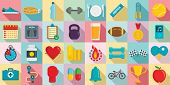 Apps For Fitness Icons Set. Flat Set Of Apps For Fitness Icons For Web Design poster