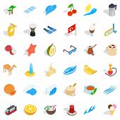 Tourism Icons Set. Isometric Style Of 36 Tourism Icons For Web Isolated On White Background poster