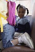 foto of motor coach  - Portrait of girl on school bus - JPG