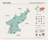 Vector Map Of North Korea. High Detailed Country Map With Division, Cities And Capital Pyongyang. Po poster