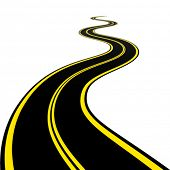 stock photo of long winding road  - vector winding road - JPG