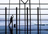 cleaning windows at the airport