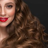 Beautiful Brown-haired Girl With A Perfectly Curls Hair, Red Lips And Classic Make-up. Beauty Face A poster