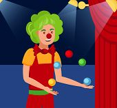 Juggling Harlequin Flat Color Vector Illustration. Young Man In Jester Outfit And Funny Wig Cartoon  poster