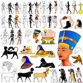 stock photo of nefertiti  - Vector set of motifs of ancient Egypt  - JPG