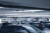 Parking Cars Without People. Many Cars In Parking Garage Interior, Industrial Building. Underground  poster
