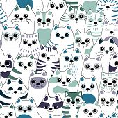 Seamless Pattern With Cats. Big Company Of Cats Of Different Breeds. Vector Background For Fabric, T poster