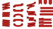 Flat Vector Ribbons Banners Isolated Background. Ribbon Red Colored. Set Ribbons Or Banners. Vector  poster
