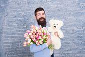 Man Wear Blue Tuxedo Bow Tie Hold Flowers Bouquet. International Womens Day. Surprise Will Melt Her  poster