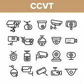 Surveillance Cameras, Cctv Linear Icons Vector Set. Security System, Cctv Thin Line Illustrations Co poster