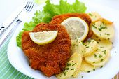 Wiener Schnitzel, breaded with potato salad