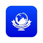 Geography Icon Blue Vector Isolated On White Background poster