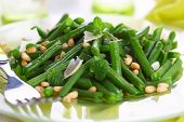 stock photo of pine nut  - green beans with parmesan and pine nuts - JPG