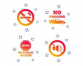 Stop Smoking And No Sound Signs. Private Territory Parking Or Public Access. Cigarette Symbol. Speak poster
