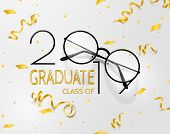 Congratulations Graduates. Lettering For Graduation Class Of 2019. Vector Text For Graduation Design poster