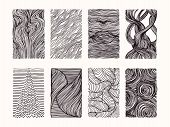Hand Drawn Wavy Linear Textures Made With Ink. Graphic Design Template Collection. Swirl, Curl, Wavy poster