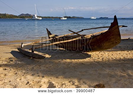 Madagascar Nosy Be Rock Stone Branch Yacht Boat Palm Lagoon And Coastline
