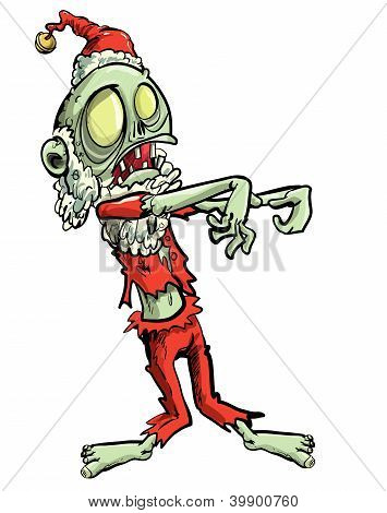 Cartoon illustration of Santa zombie