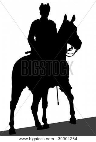 Dibujo de un militar a caballo vectorial