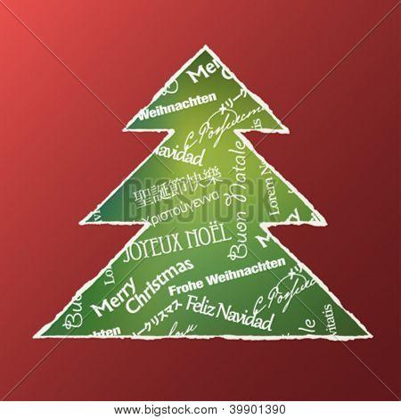 Conceito de árvore de Natal. Composição de palavras. Ilustração vetorial, EPS10.