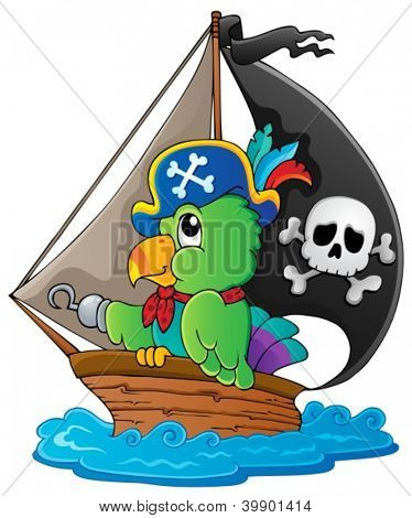 Image with pirate parrot theme 1 - vector illustration.