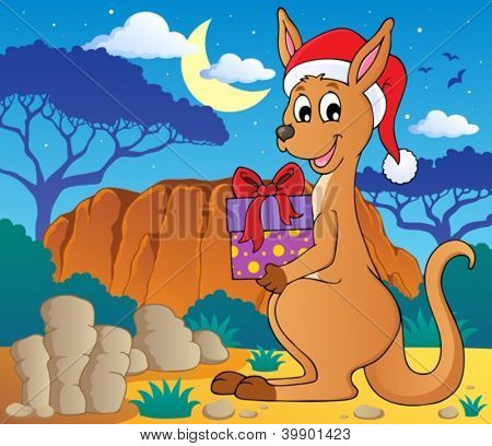 Christmas kangaroo theme image 2 - vector illustration.