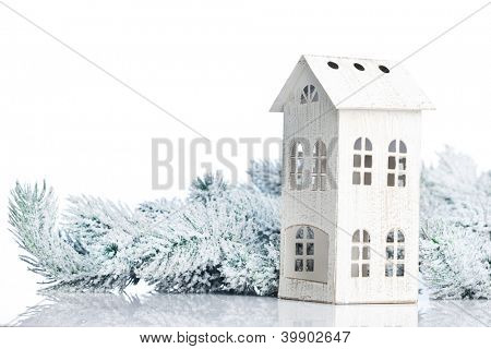 two-storied house on a festive background