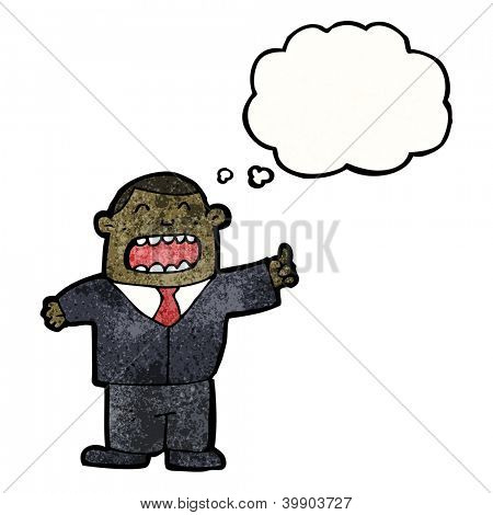 cartoon arrogant businessman with thought bubble