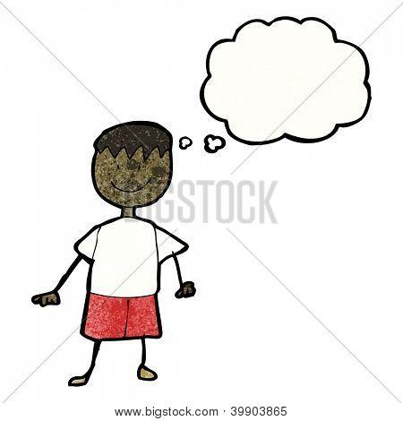 Kinderzeichnung ein happy Boy mit Gedanken-Blase