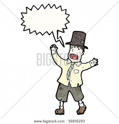 cartoon hobo man shouting