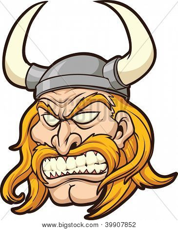 Viking head. Vector clip art illustration with simple gradients. All in a single layer.