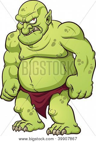 Big cartoon troll. Vector clip art illustration with simple gradients. All in a single layer.