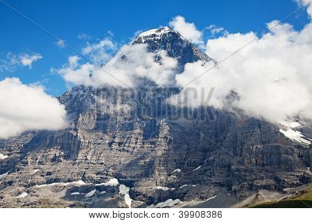 Famous North face of Eiger - one of the most difficult ascents in the swiss alps