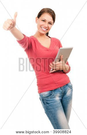 Young happy student girl with tablet pc