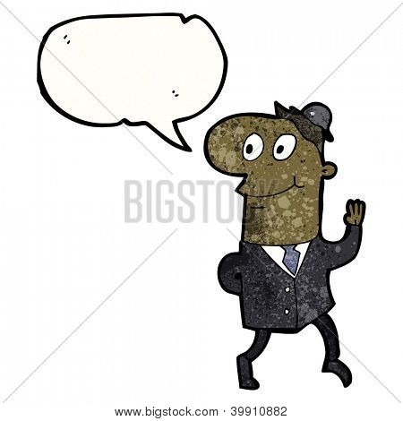 cartoon businessman walking to work