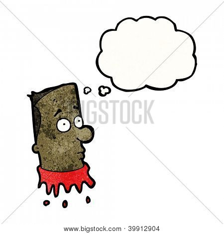 gross severed head with thought bubble