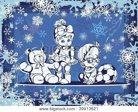 Vector illustration of cute babies over a winter background.
