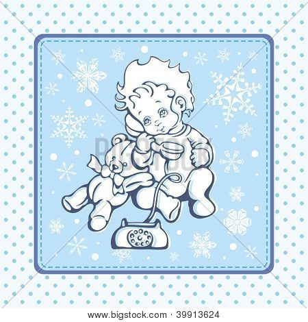 Vector illustration of a cute baby boy over a winter pattern.