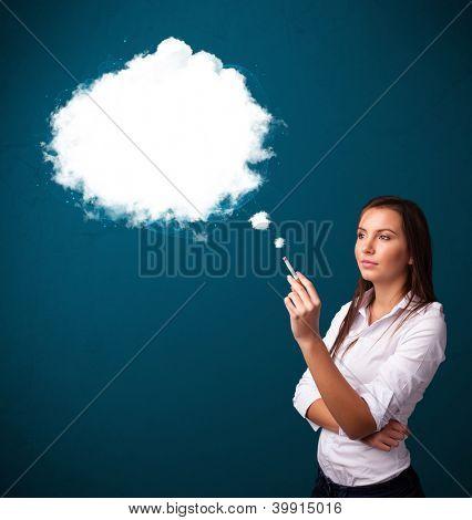 Pretty young woman smoking unhealthy cigarette with dense smoke