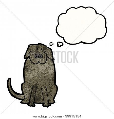 cartoon big black dog with thought bubble