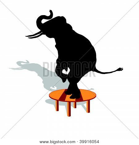 Elephant On The Table Vector Illustration