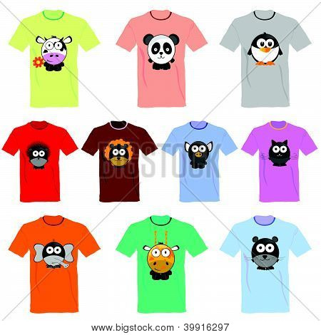 T-shirts With Pictures Of Animals Vector Illustration